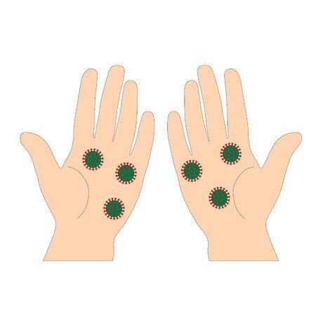 Two palms with coronavirus.Method of transmission of coronavirus.Pandemic.Vector illustration.Hands close up
