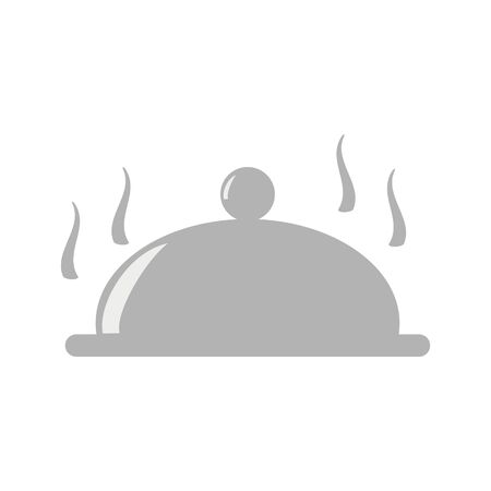 A plate covered with an oval lid.Dishes for serving hot food.Closed food.Vector illustration  イラスト・ベクター素材