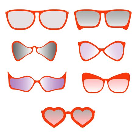 A set of red sunglasses.Frames of different shapes.Classic and exotic frames.Vector illustration.