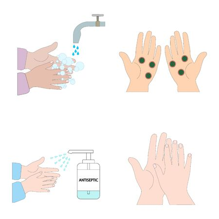 Set-instructions for washing hands.Clean your palms , hands with the virus, with foam, with antiseptic.Flat illustration.Vector image. Çizim