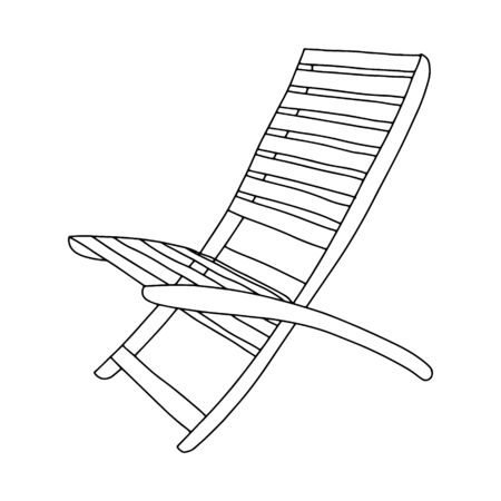Summer wooden chaise longue-contour hand drawing.Black and white image.Coloring.Beach holiday.Doodle style.Vector illustration