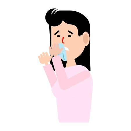 A woman s runny nose.Flat illustration.Rhinitis.Allergies to pollen, Pets.The disease is viral, ill health.Vector illustration.