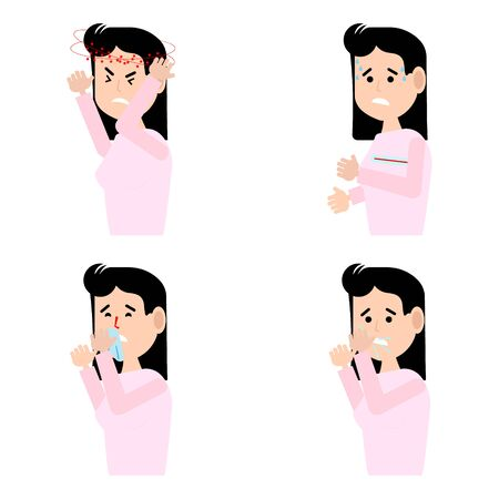 A set of images with signs of illness.The girl has a cough,sneezing, runny nose, headache, fever.Virus, cold.Information for notifying people.Vector illustration. Ilustración de vector