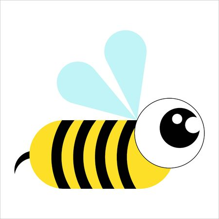 A wasp with big eyes.Cartoon style.Nice illustration.Stylized drawing.Vector image.