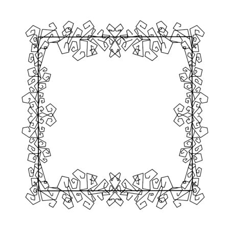 Doodle frame. Floral and geometric patterns.Black and white image.Outline drawing by hand.Vector image.