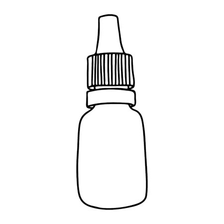 Bottle for drops in the style of Doodle.A small bottle with a lid.Black and white illustration.Monochrome.Hygiene and healthcare products.Vector illustration