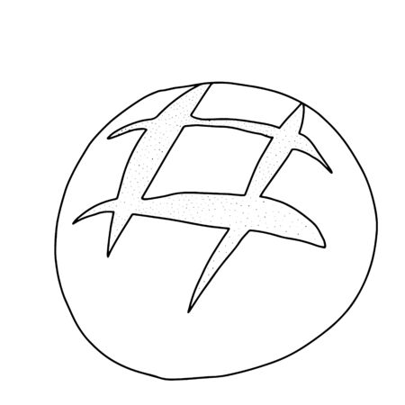 Round bread with incisions-drawn in the style of Doodle.Outline drawing by hand.Black and white image of baking.Monochrome design.Coloring.Vector image
