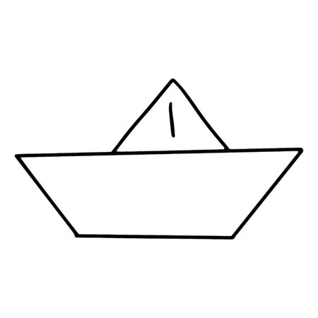 Paper boat drawn in the style of Doodle.Outline drawing by hand.Children s game.Black and white image of the toy.Monochrome.Vector illustration
