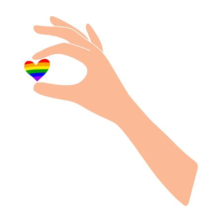 A light-skinned hand holds a rainbow heart. LGBT.Dark skin.A heart between your fingers.Flat illustration.Love and happiness.Valentine s day.Day of lovers.Wedding.Vector illustration
