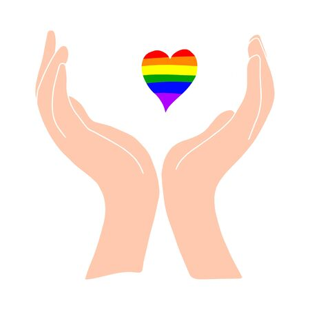 Light-skinned hands hold a rainbow heart. LGBT PERSON.Flat illustration.Love and happiness.Valentine s day.Day of lovers.Wedding.Vector illustration