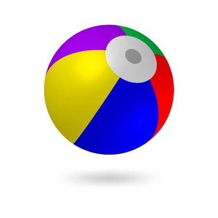 Multi-color beach ball.Children s ball inflatable.Bright colors-red, yellow, blue, red, violet.Vector illustration
