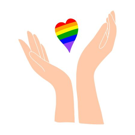 A light-skinned hand holds a rainbow heart. LGBT PERSON.Flat illustration.Love and happiness.Valentine s day.Day of lovers.Wedding.Vector illustration Vektoros illusztráció