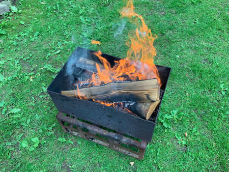 Rectangular grill with wood. Burning wood, fire. Barbecue on the background of green grass.