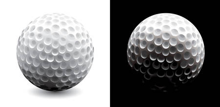 Vector. Two versions of golf ball - light and dark.