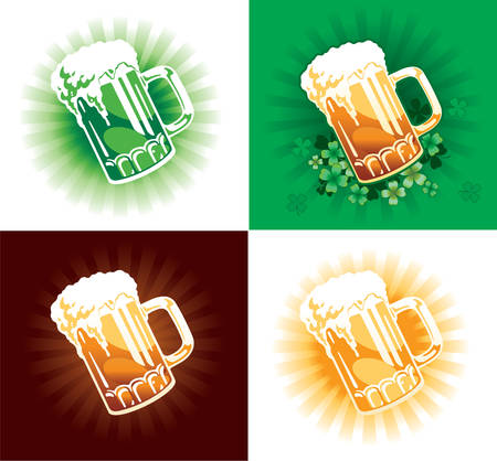 Vector. Four variation of beer tankards for St.Patrick's Day.