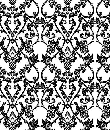 black silk: Vector. Seamless floral background