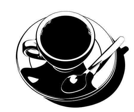ink pot: Vector. Taza de caf�