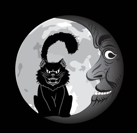 Vector. Moon face and cat Stock Vector - 3607764