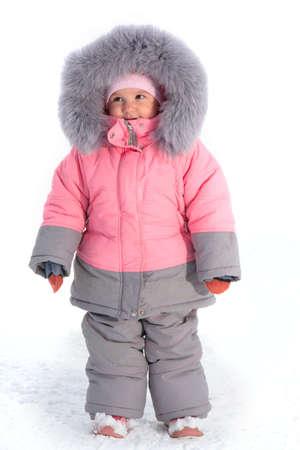 Little girl wear in winter clothing photo