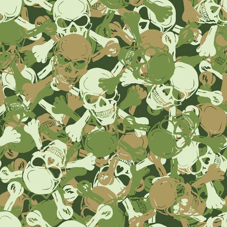 Vector. Seamless skull camouflage pattern Vector