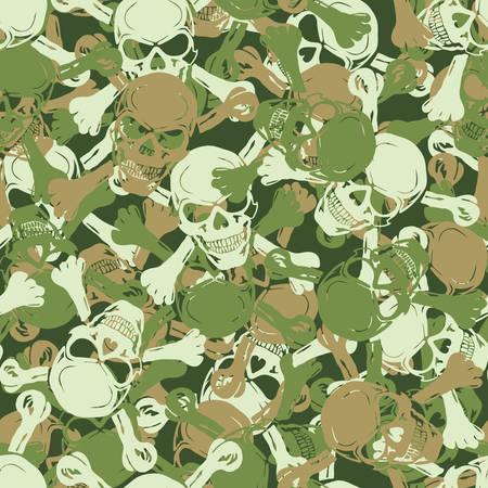 탄약: Vector. Seamless skull camouflage pattern