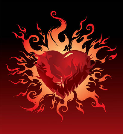red love heart with flames: Vector. Ardiente coraz�n