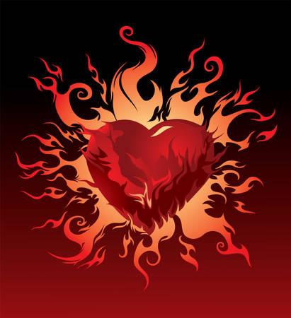 heart burn: Vector. Burning heart Illustration