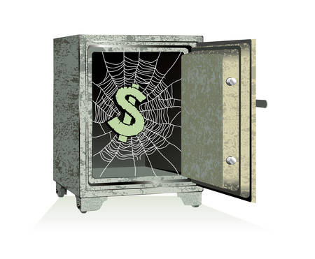 Vector. Dollar sign on spiderweb inside of an open safe Vector