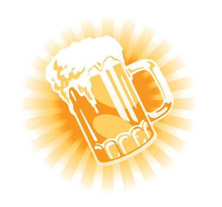 Vector. Beer tankard illustration with sun beams Illustration