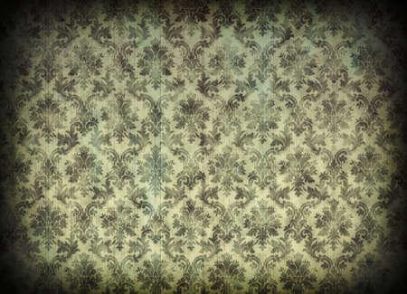 vignetting: Vintage damask wallpaper with cracks and vignetting