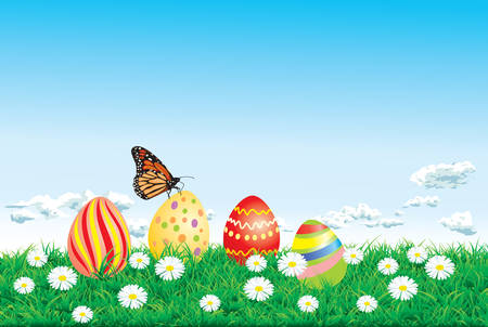Vector illustration. Happy easter card with eggs, green grass and blue sky