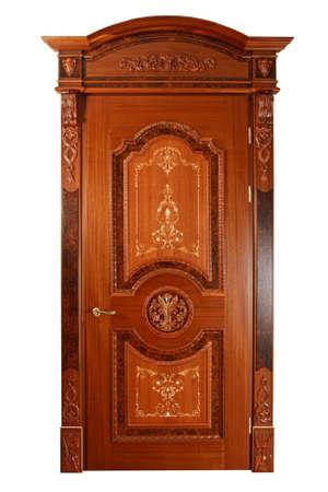 Handmade luxury door. Isolated on white background photo