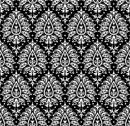 Vector illustration. Seamless damask pattern. Black and white Vector