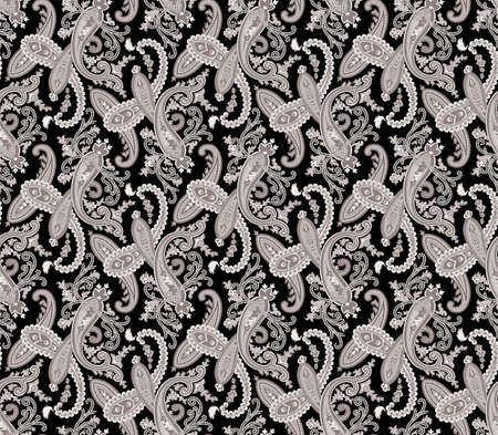 jacquard: Seamless paisley illustration background. Big XXL size