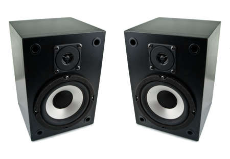 loud speakers: Two loud speakers isolated on white background Stock Photo