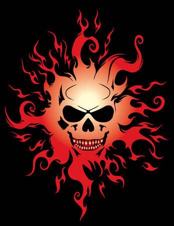 Burning skull vector illustration over black background Vector