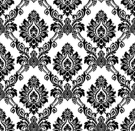 seamless damask: Vector. Damasco patr�n sin fisuras. Papel tapiz de �poca en blanco y negro Vectores
