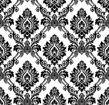 Vector. Seamless damask pattern. Vintage wallpaper black and white Illustration