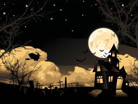 hallows': Vector. Halloween card Illustration