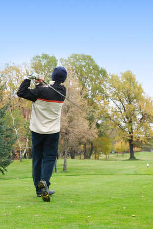 Golfer over great nature photo