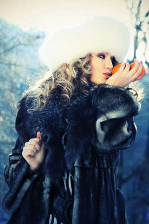 portrait of a winter carnival woman photo