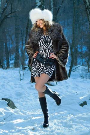 sexy fur: portrait of a winter woman Stock Photo