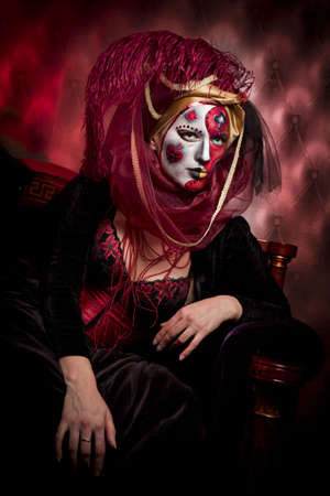cool Venetian mask makeup over vintage interior photo