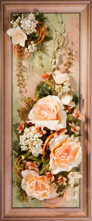 Wooden frame with beautiful roses photo
