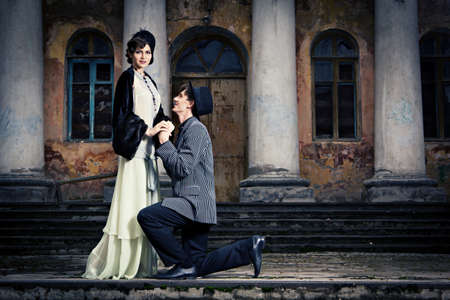 Retro styled fashion portrait of a young couple. Stock Photo - 9946919