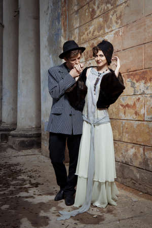 Retro styled fashion portrait of a young couple. photo