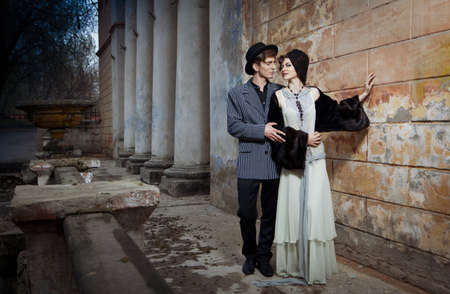 Retro styled fashion portrait of a young couple. Stock Photo - 9946935
