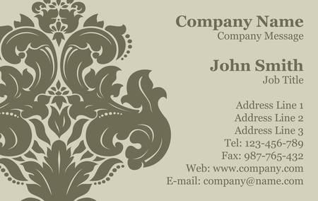 Vector Victorian Damask Business Card Vector