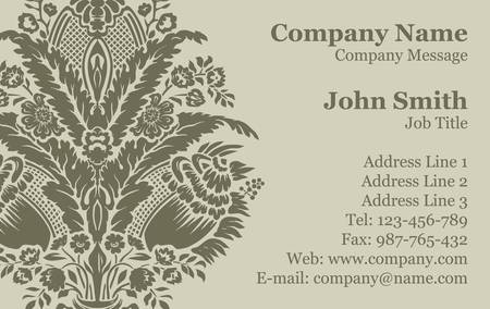 Vector Victorian Damask Business Card Stock Vector - 16829808