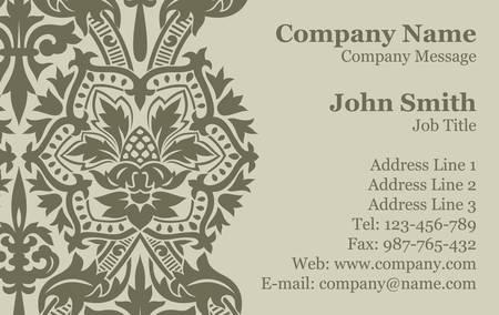Vector Victorian Damask Business Card Stock Vector - 16829809